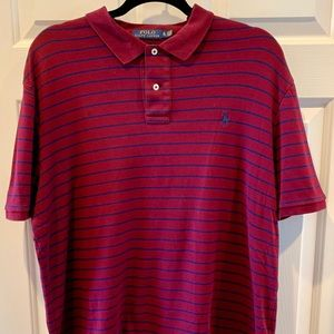 Ralph Lauren burgundy blue striped men's polo